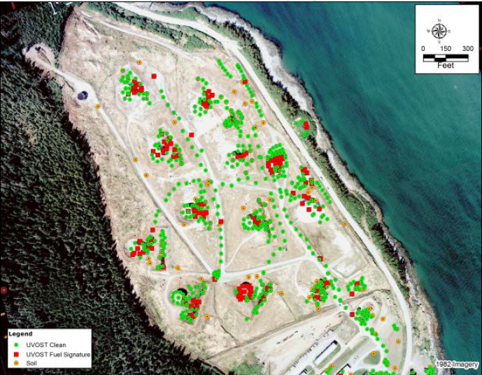 The former tank farm. Red dots show locations where potential contamination was found. Green dots are sites that were tested and no contamination was found. (North Wind, Inc.)