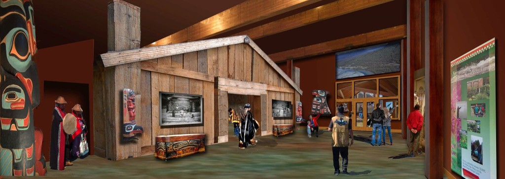 An architect's rendering of the exhibit gallery inside the Jilkaat Kwaan Cultural Heritage Center. (Jilkaat Kwaan Heritage Center/Bill Hacker)