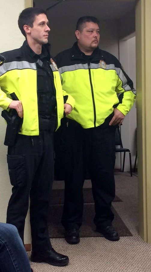 Lt. Bill Mills, right, and Officer Jordan Welch are on the beat in Haines temporarily. (Jillian Rogers)