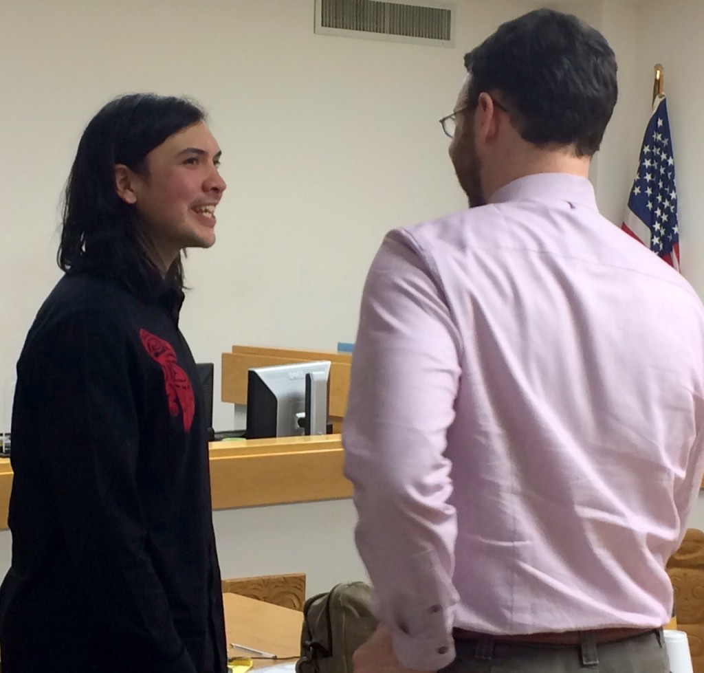 Ted Hart, left, and his defense attorney Tim Ayer in Haines court on Tuesday. (Jillian Rogers)