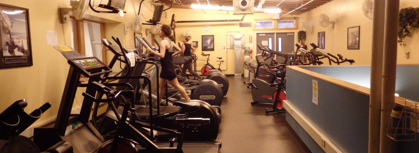 People work out on a January afternoon at the Skagway Recreation Center. (Emily Files)