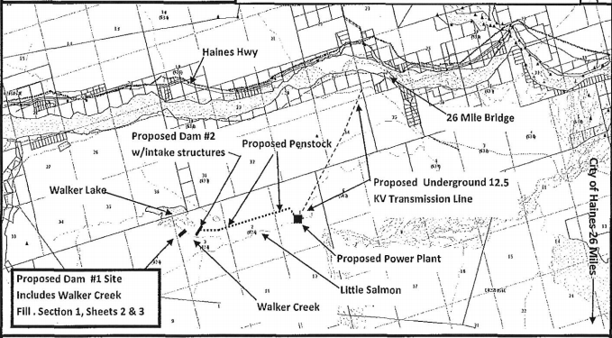 A map of the proposed hydro project.