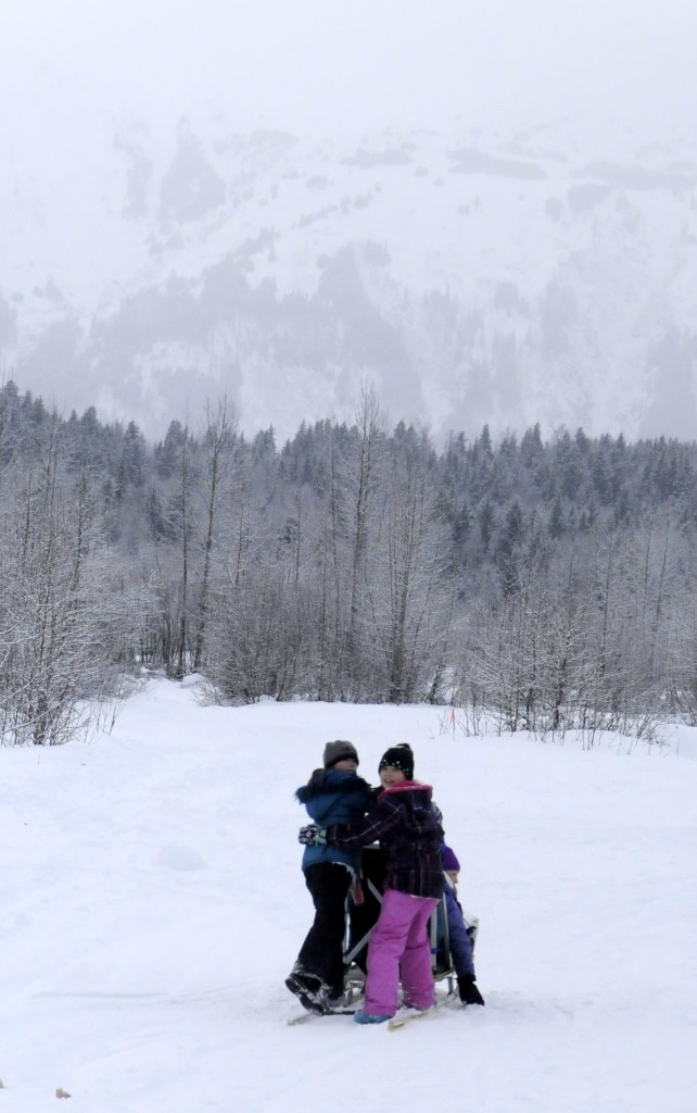 Students from Haines School's third-grade class enjoy some morning mushing last week. (Jillian Rogers)