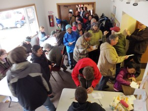 Democratic voters file into the Chilkat Center Saturday. (Emily Files)