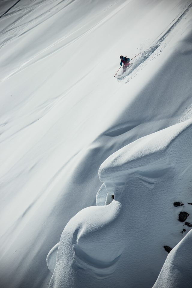 A skier competes in the Haines Freeride event. (Courtesy Freeride World Tour)