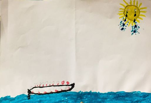 """Tears from the Sun,"" a picture painted by a child refugee who survived the ocean crossing from Turkey to Greece. (Eric Kocher)"