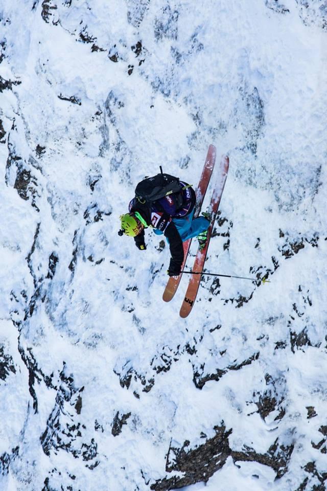 Skier Dennis Risvoll competes in Fieberbrunn, Austria, the Freeride event preceding Haines. (©Dom Daher/Freeride)