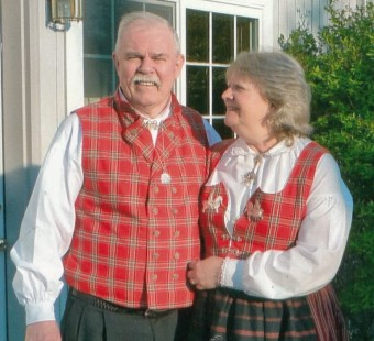 Petersburg volunteers Al and Sally Dwyer in traditional Norwegian clothing. (KFSK photo courtesy of the Dwyers)