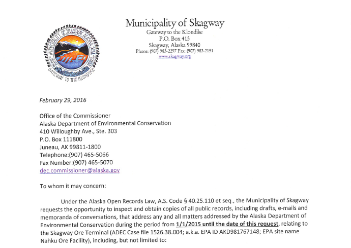 The beginning of Skagway's FOIA request to ADEC.