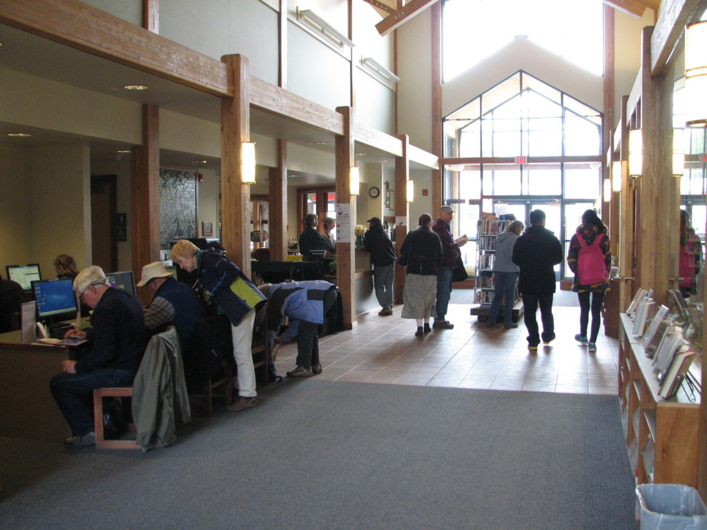 Residents take advantage of free internet service at the Haines Public Library. (Photo provided)