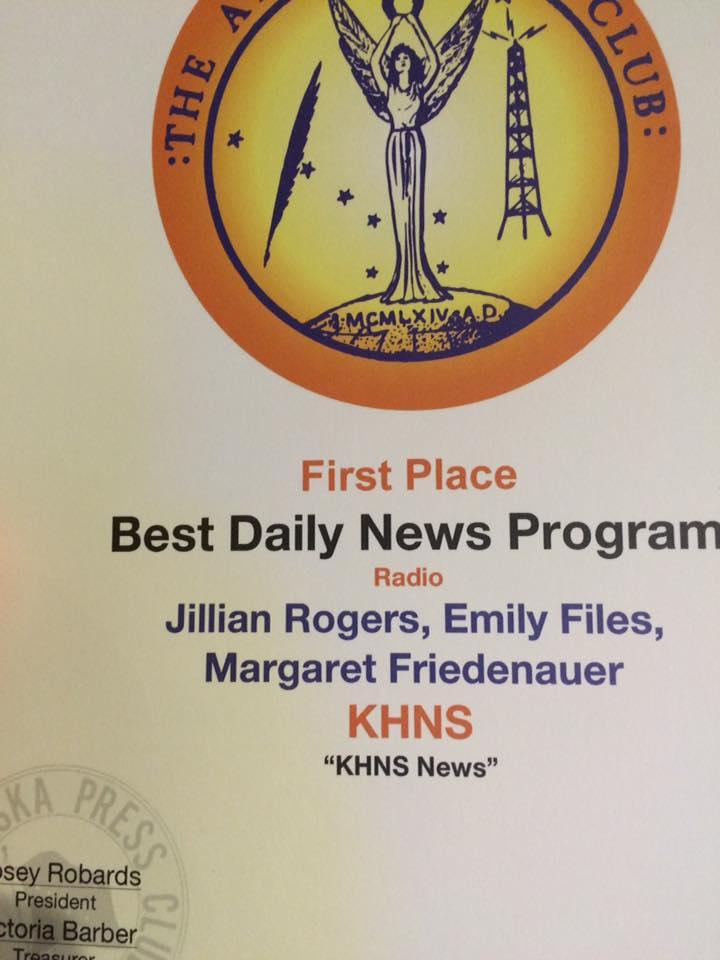 KHNS wins Best Daily News Program at Alaska Press Club