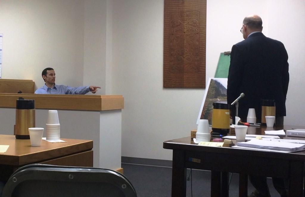 Reuben Loewen testifying Monday. (Jillian Rogers)