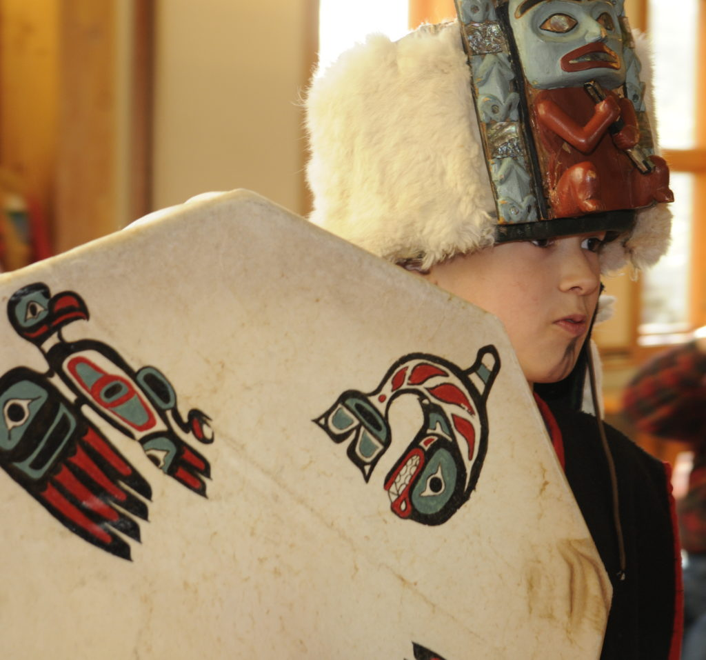 Residents show off various outfits, drums, rattles and daggers at the Traditional Tlingit Regalia Fashion Show on Thursday, May 26, 2016 at the Haines Public Library. (Jillian Rogers)