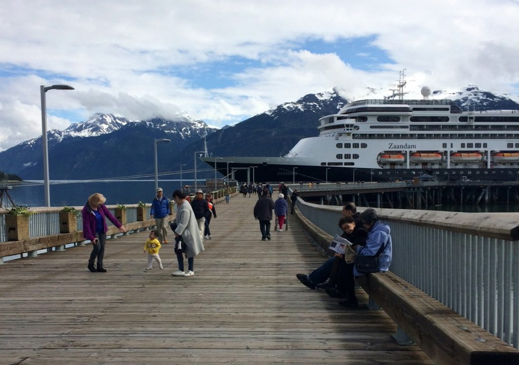 Around 1,400 passengers got off the Zaandam in Haines on Wednesday. (Jillian Rogers)