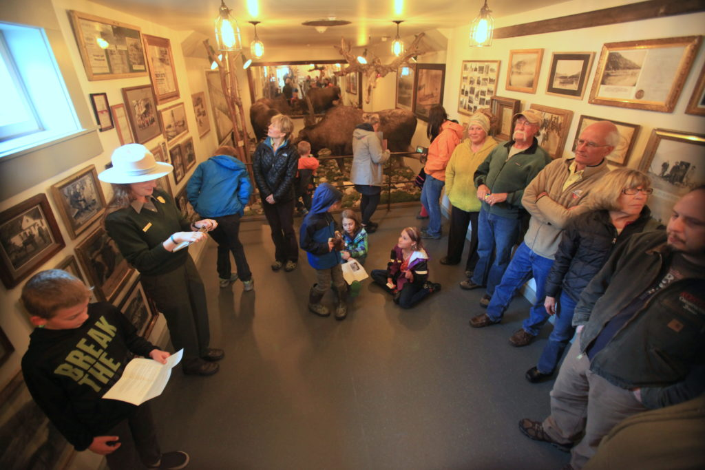 A crowd gathers at the grand opening of the Jeff Smith's Parlor Museum in Skagway on April 30. (NPS photo)
