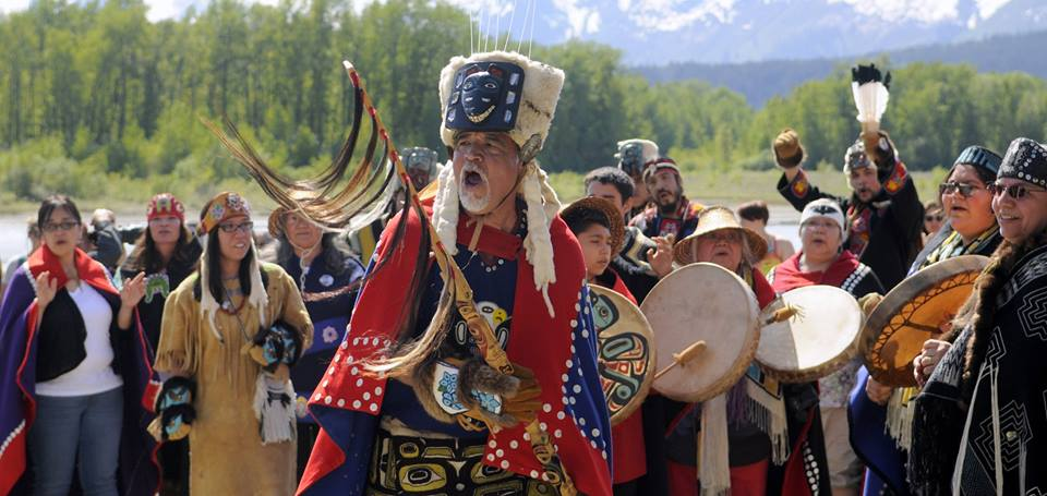 Jack Strong leads the group in song and dance at the grand opening of the Jilkaat Kwaan Heritage Center in Klukwan. (Jillian Rogers)