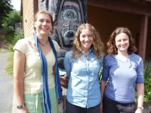 Djuke Veldhuis, Caitlin Stern, and Jessie Barker are three of the researchers conducting the Alaska Native identity study. (Emily Files)