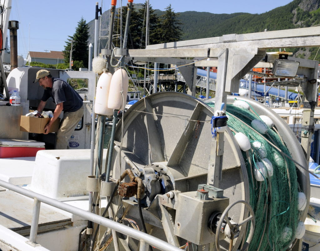 Tim Hannon loads up the Shotgun on Thursday afternoon in Haines. The commercial gillnet season starts on Sunday. (Jillian Rogers)