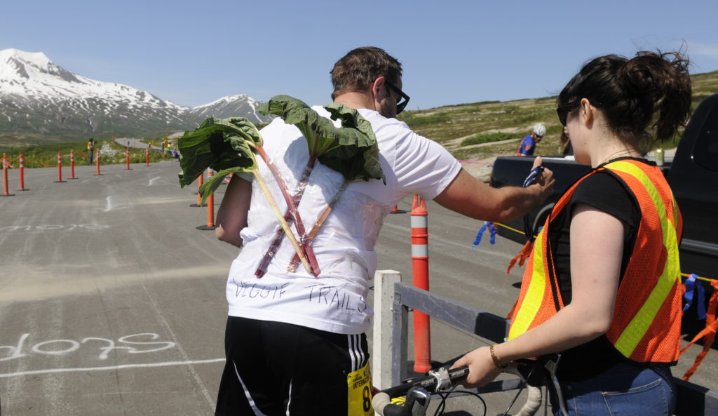 Whitehorse rider Noah McFadgen comes into the summit checkpoint, rhubarb in tact during Saturday's Kluane-Chilkat International Bike Relay. (Jillian Rogers)