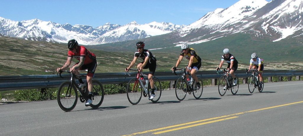A pack of solo riders approach the Haines Summit checkpoint during Saturday's Kluane-Chilkat International Bike Relay. (Lew Lowery)