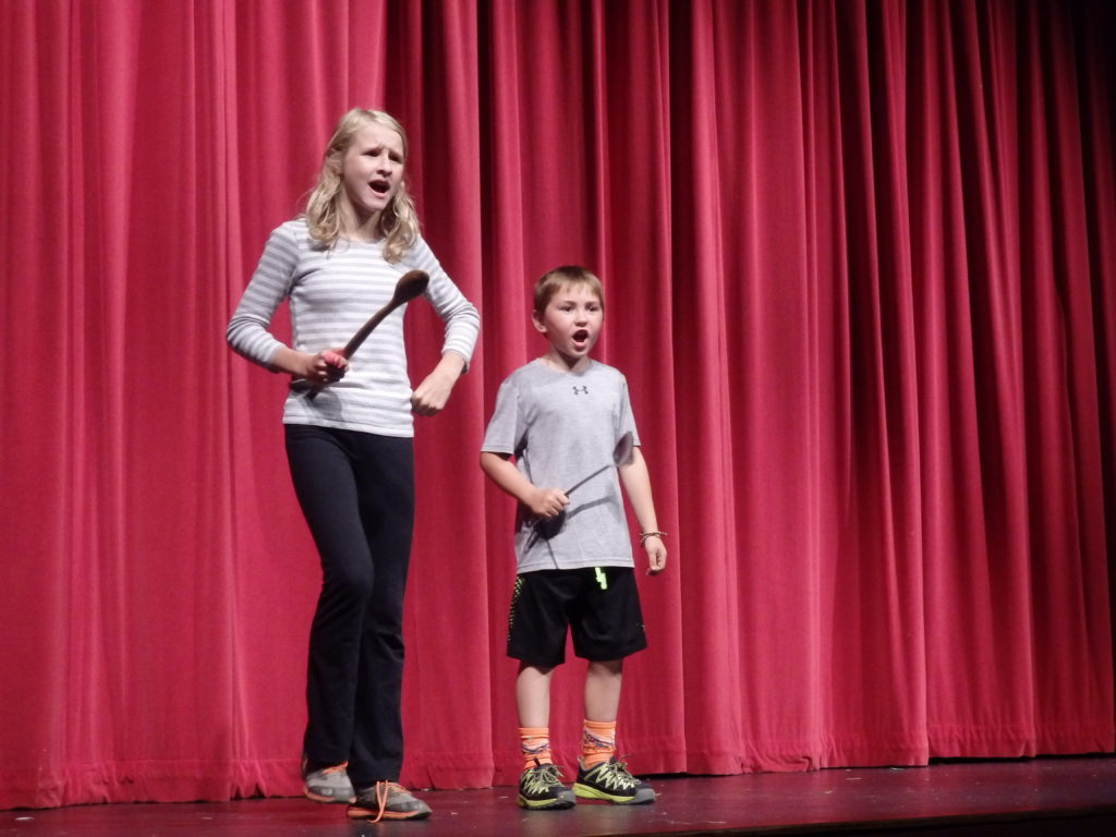 "Matilda Rogers and Hayden Jimenez rehearse for ""Fe Fi Fo Fum."" (Emily Files)"