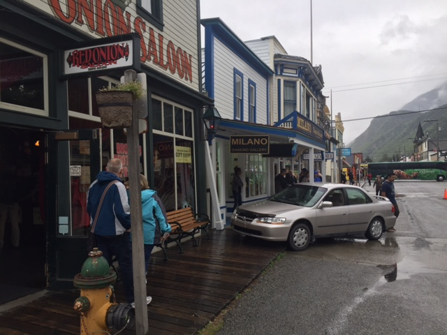 A car nearly slammed into the Red Onion Saloon Saturday. (Liz Lavoie Photo)