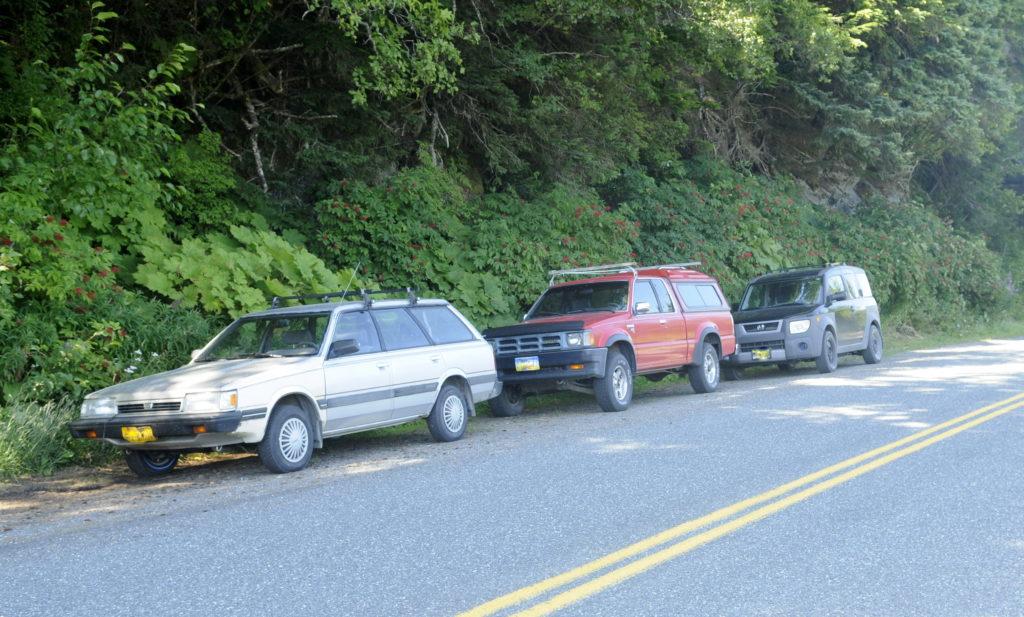 Cars parked on Mud Bay Road. (Jillian Rogers)