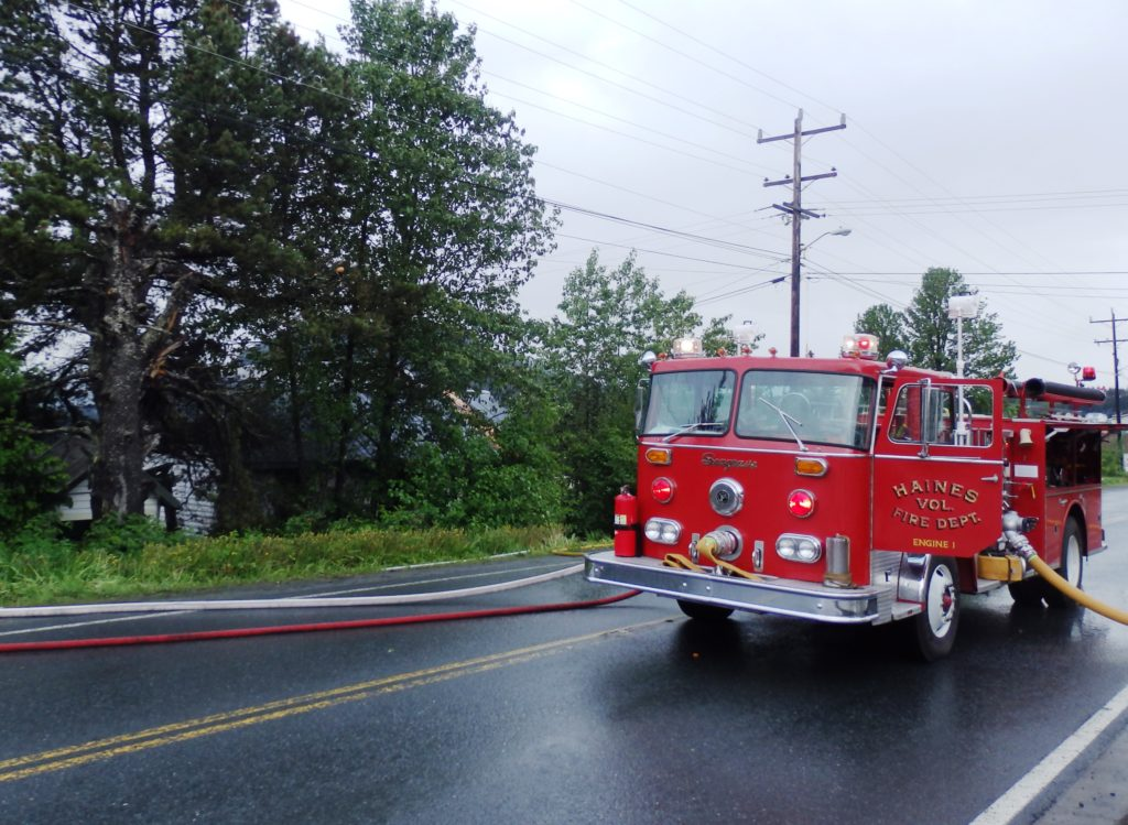 The Haines Volunteer Fire Dept responds to a call in May 2016. (Emily Files)