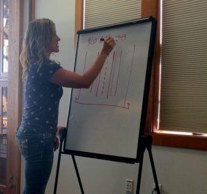 DOT's Joanne Schmidt addresses Mud Bay residents at a meeting in Haines last week. (Jillian Rogers)