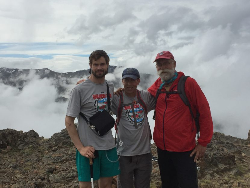 Forest Wagner, Andy Sterns, and Forest's father Joe Wagner pose for a photo while climbing Flat Top near Anchorage on June 25. (Photo courtesy Forest Wagner)
