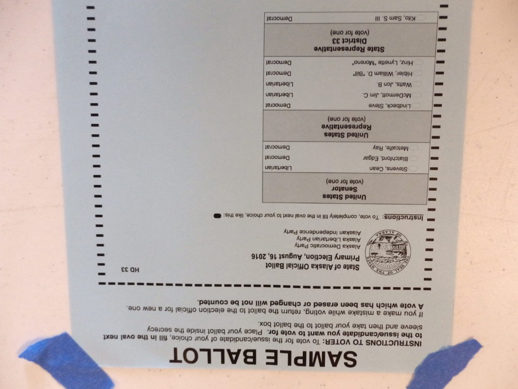 The Democratic/Libertarian/Independent sample ballot. (Emily Files)