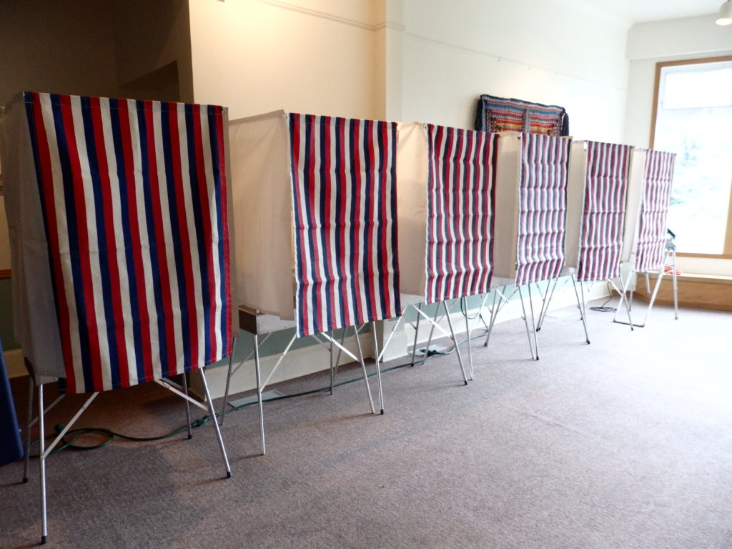 Voting booths set up at the Chilkat Center in Haines. (Emily Files)