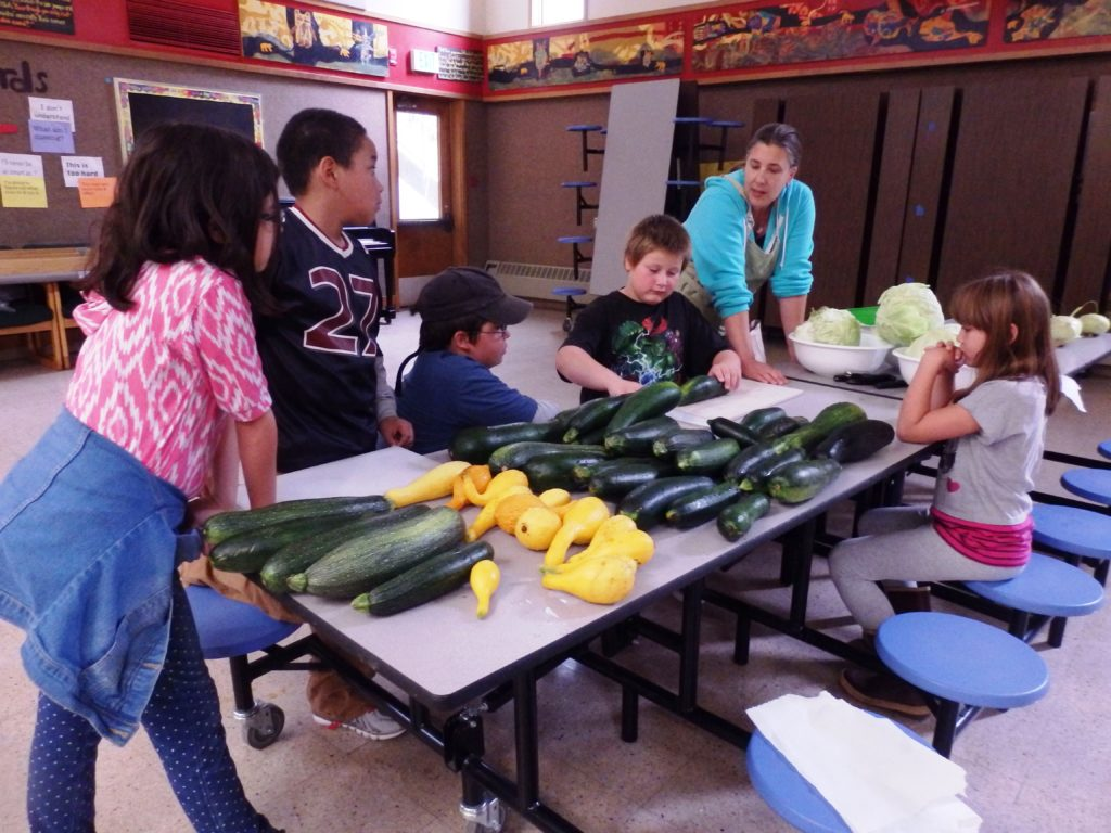 Teacher Jessica Tipkemper helps students chop zucchinis. (Emily Files)