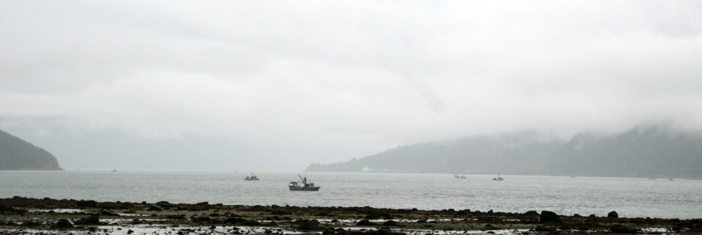 Commercial boats set nets at the mouth of the Chilkoot River on Monday. (
