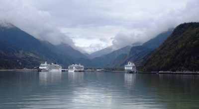 Three cruise ship docked in Skagway's port in Sept. 2016. (Emily Files)