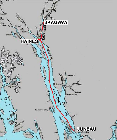The path of the Lynn Canal fiber-optic cable. (AP&T)