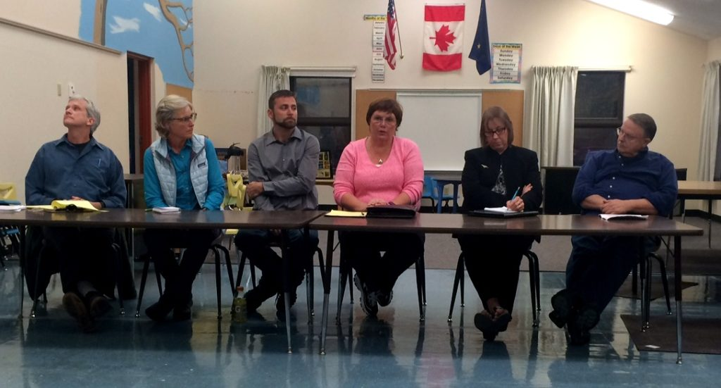 The six Haines borough assembly candidates from left, Tom Morphet, Heather Lende, Ryan Cook, Diana Lapham, Judy Erekson and Leonard Dubber. (Jillian Rogers)
