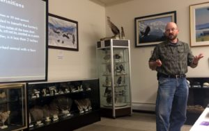 ADF&G biologist Carl Koch talks to Hunters on Thursday, Sept. 8 in Haines. (Jillian Rogers)