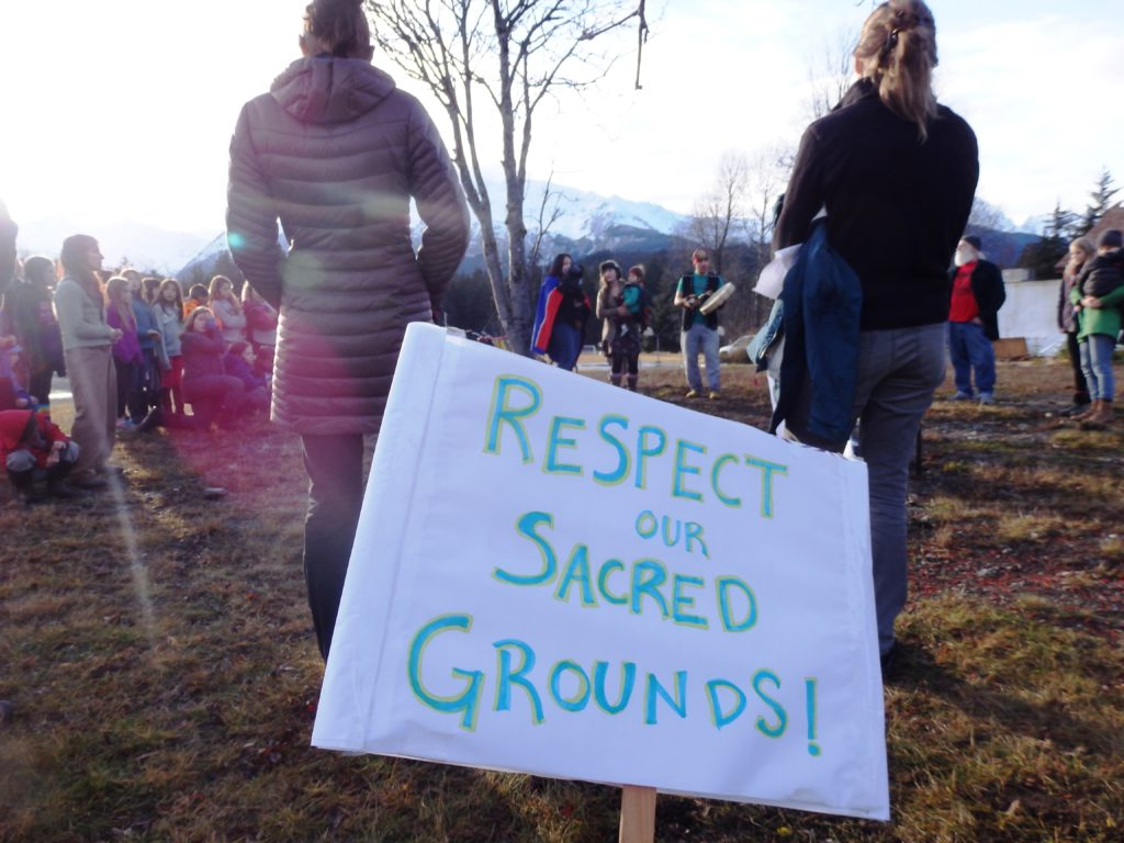 Haines resident rally in solidarity with the Standing Rock Tribe Tuesday. (Emily Files)