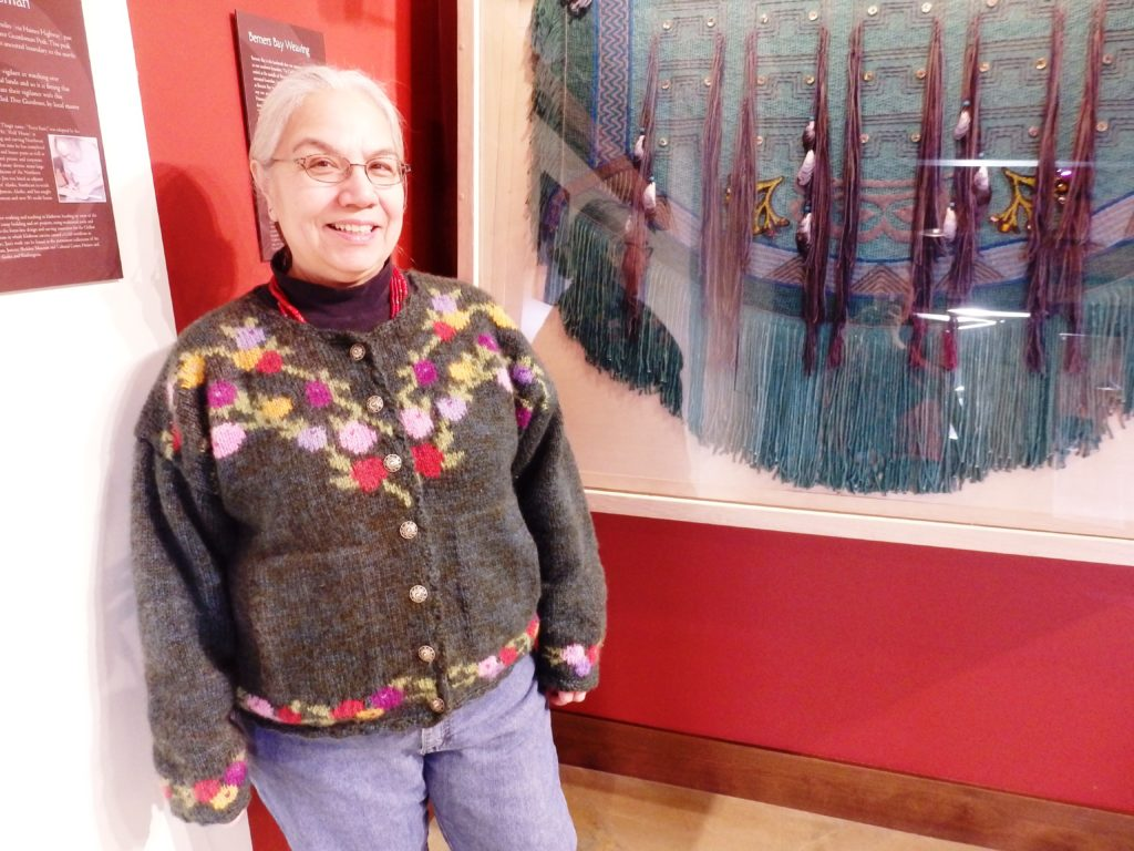 Lani Hotch with her Berners Bay weaving. (Emily Files)