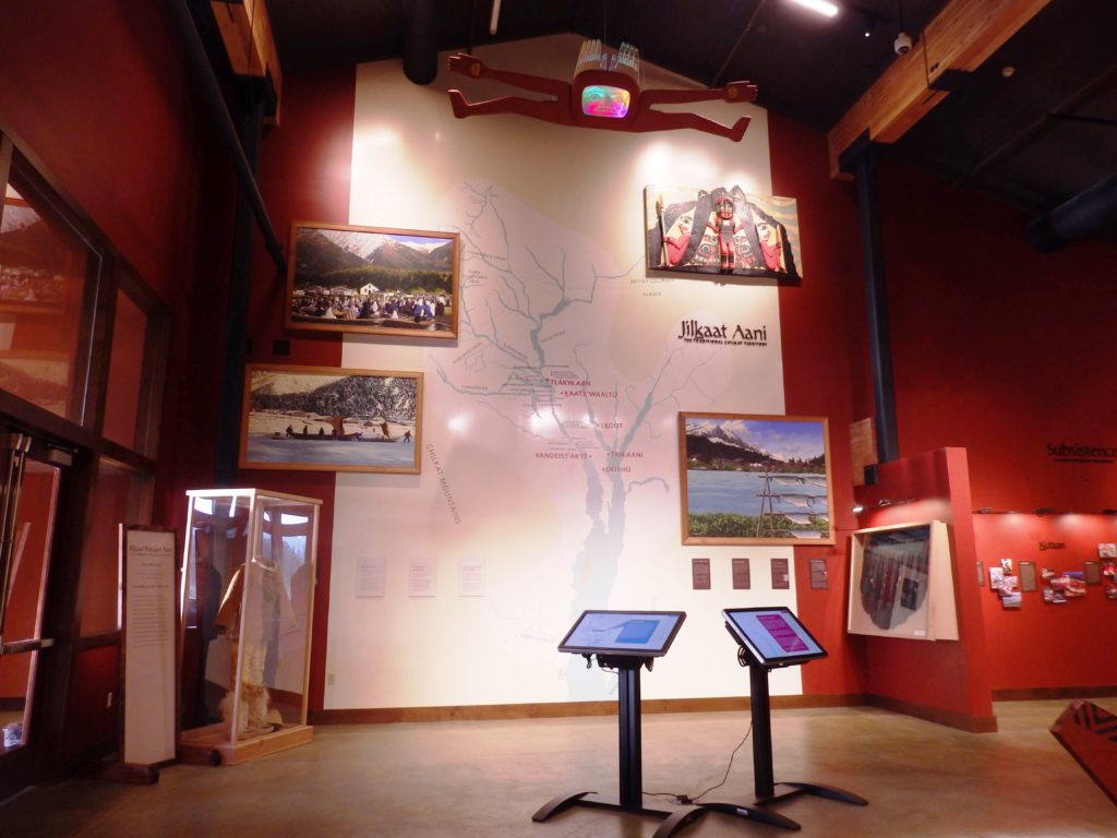 The Chilkat Cultural Landscape Map, the introductory exhibit in the heritage center. (Emily Files)