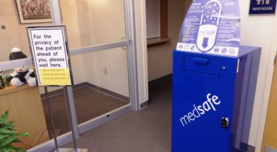 The medication drop-off box in Haines SEARHC Clinic's waiting room. (Emily Files)