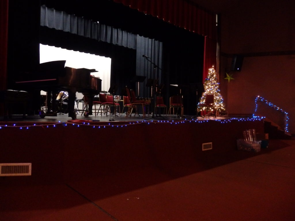 The Chilkat Center auditorium decorated for the holiday concerts. (Abbey Collins)