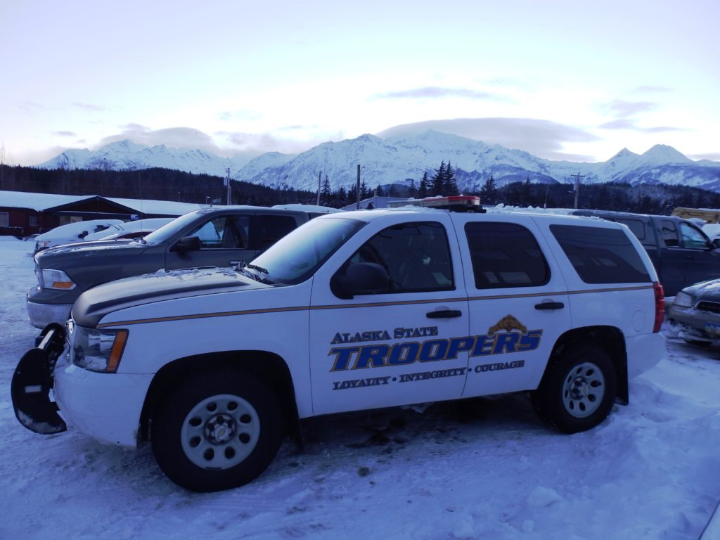 The Haines State Trooper car parked outside of the courthouse. (Emily Files)