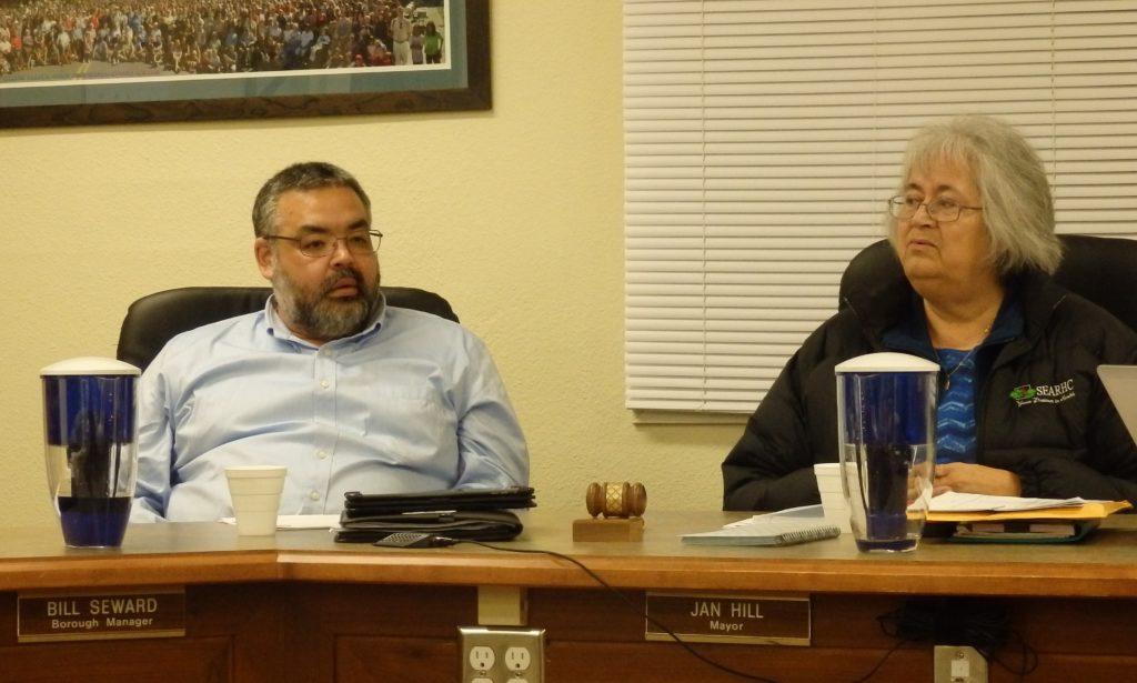 Borough Manager Bill Seward and Mayor Jan Hill. (Emily Files)