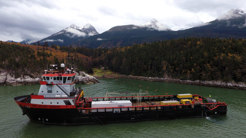 A vessel lays the fiber-optic cable near Smugglers Cove close to Skagway. (Courtesy AP&T)