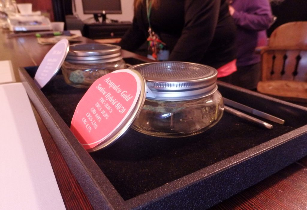 Jars of marijuana at Skagway's first retail marijuana store, the Remedy Shoppe. It opened in early 2017. (Emily Files)