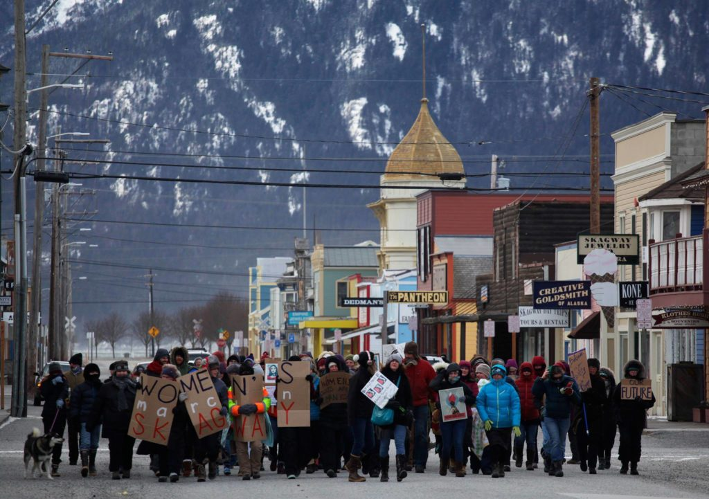Hundreds turn out for Women's Marches in Haines and Skagway