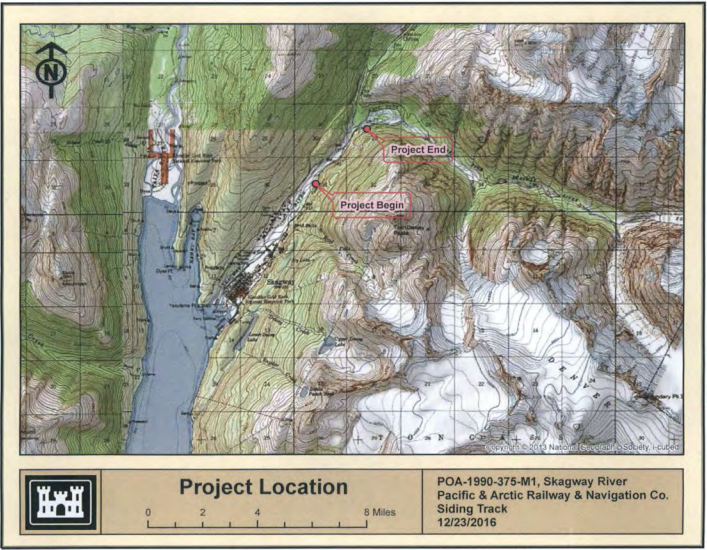 A map included in the Army Corps permit information that shows the location of proposed work.