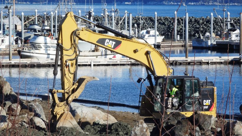 Southeast Road Builders is laying the groundwork for dredging by Pacific Pile & Marine. (Emily Files)